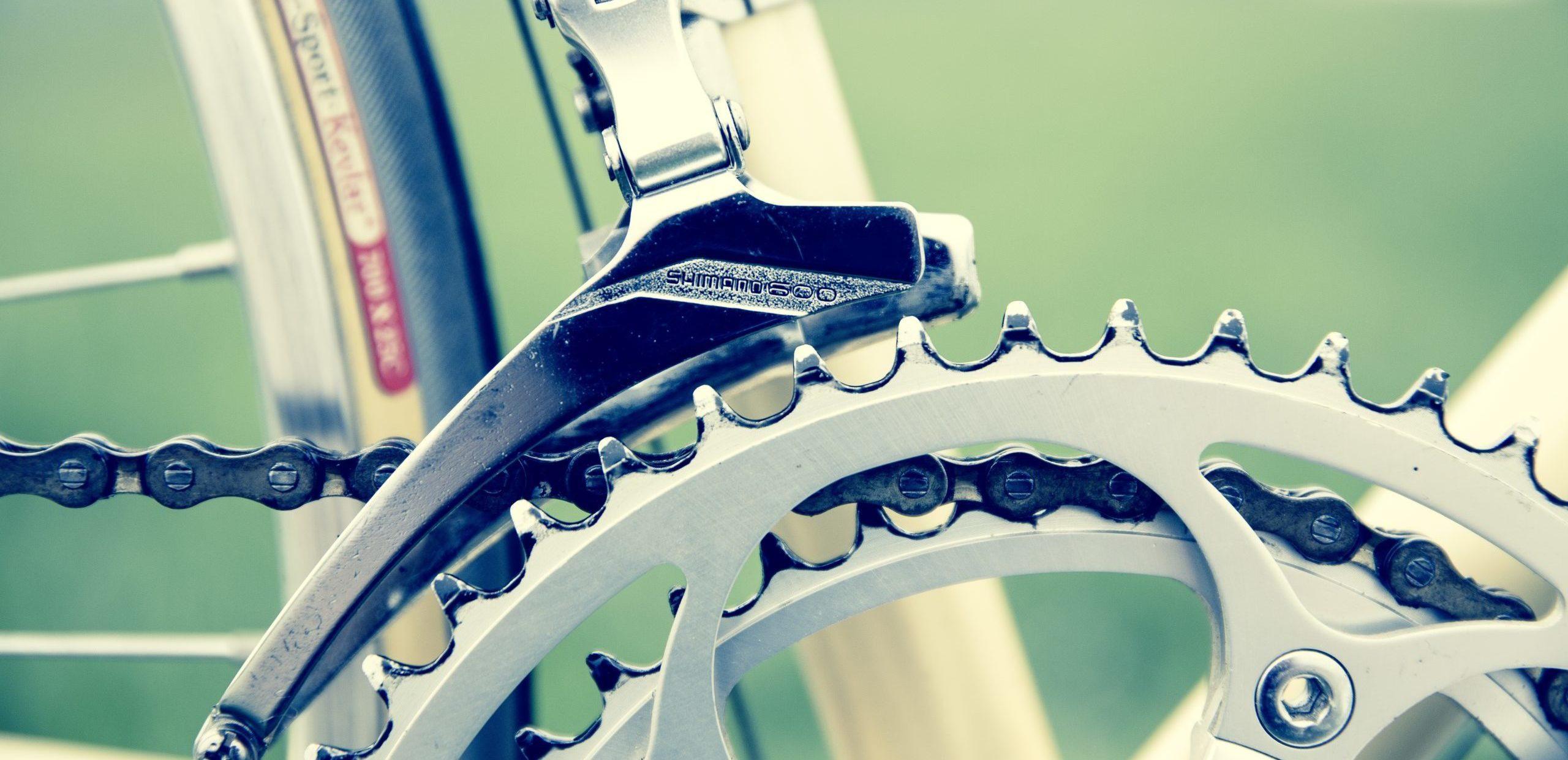 Der Kettenkranz auf einem Rennrad.